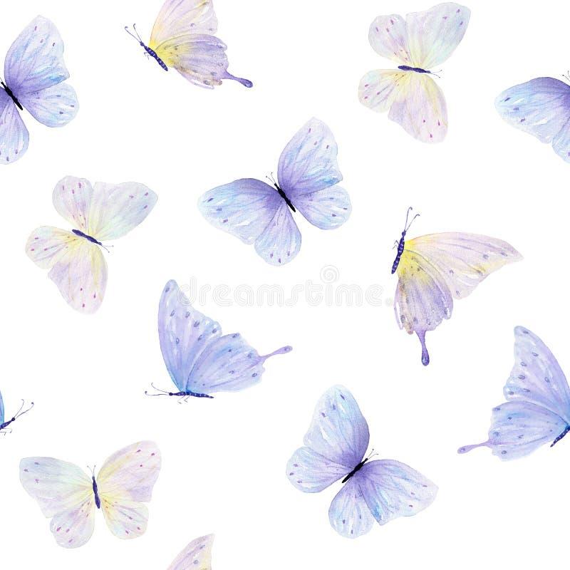 Modèle sans couture de papillon d'aquarelle illustration libre de droits