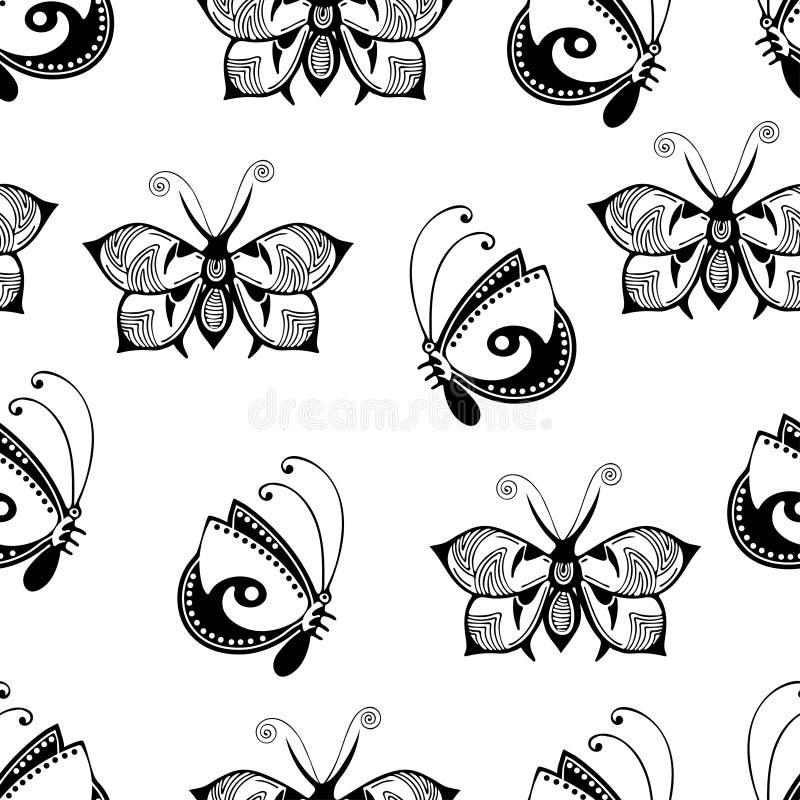 les papillons ont plac u00e9  monochrome  livre de coloriage  illustration noire et blanche