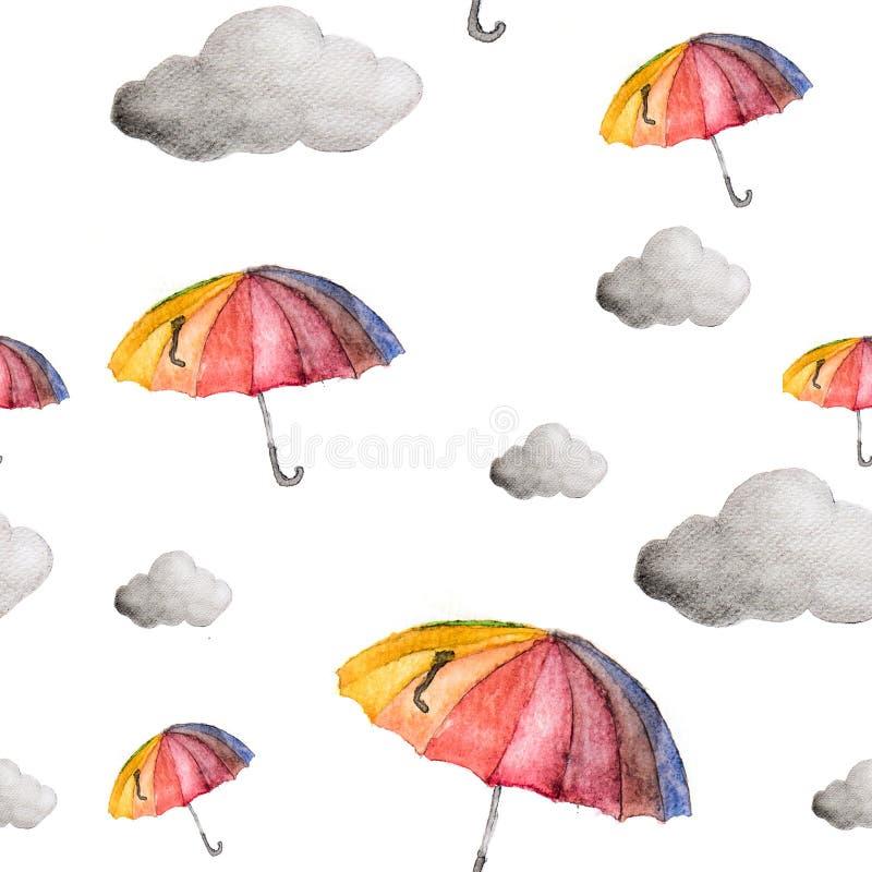 Modèle sans couture de parapluies et de nuages illustration libre de droits
