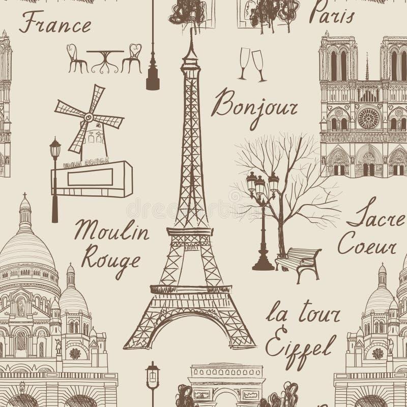 Modèle sans couture de Paris de voyage Vacances en papier peint de l'Europe illustration stock