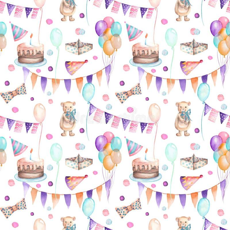Modèle sans couture de partie avec la guirlande des drapeaux, des confettis, du gâteau, des ballons à air, des arcs et des cadeau illustration stock