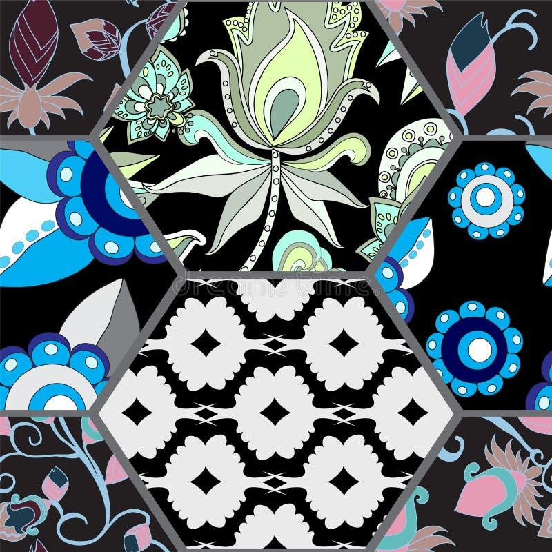 Download Modèle Sans Couture De Patchwork Avec Des Fleurs Illustration de Vecteur - Illustration du métier, fleur: 56487325