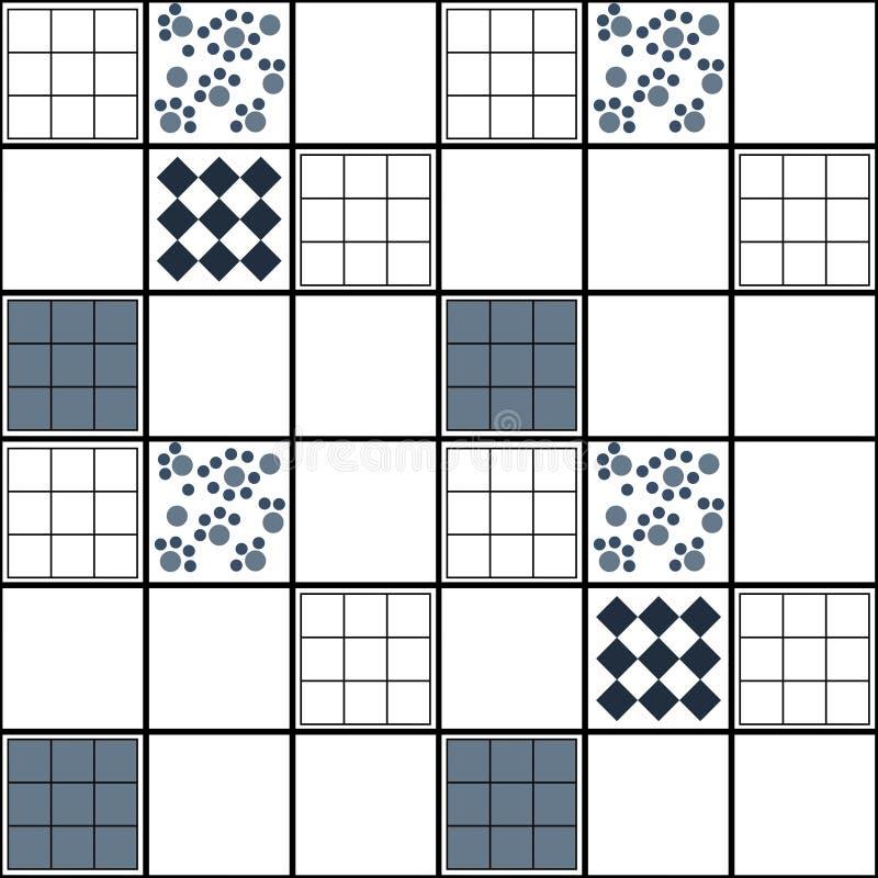 Modèle sans couture de patchwork de places abstraites géométriques d'éléments illustration stock
