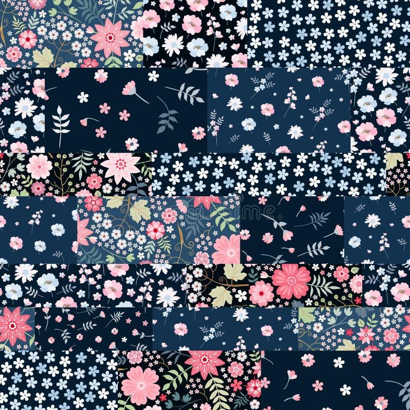 Modèle sans couture de patchwork des corrections florales Illustration de vecteur Couverture, s'enveloppant, copie pour le tissu illustration libre de droits