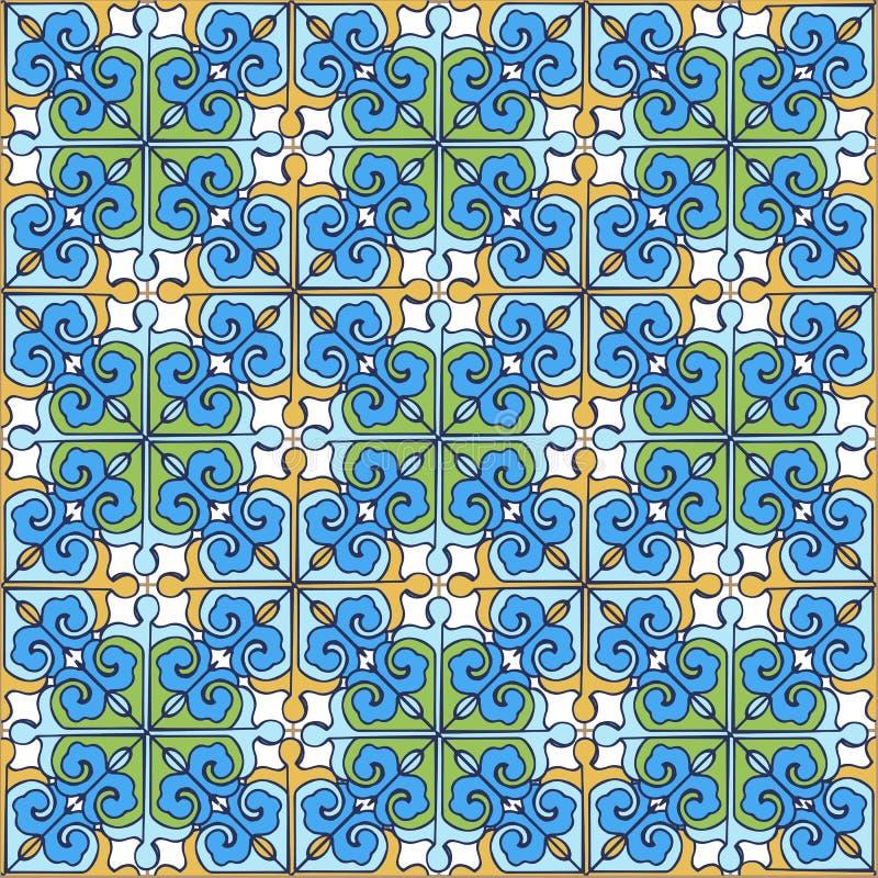 Modèle sans couture de patchwork des tuiles marocaines et portugaises bleues, couleurs jaunes et vertes L'ornement décoratif peut illustration stock