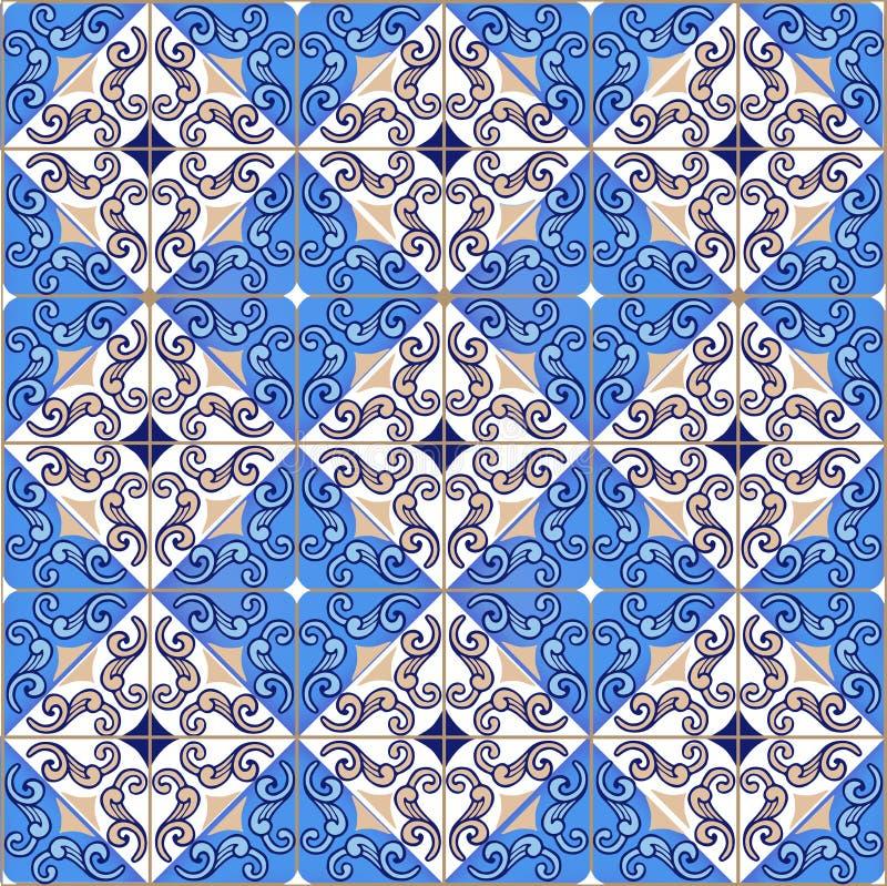 Modèle sans couture de patchwork des tuiles marocaines et portugaises dans des couleurs bleues images stock
