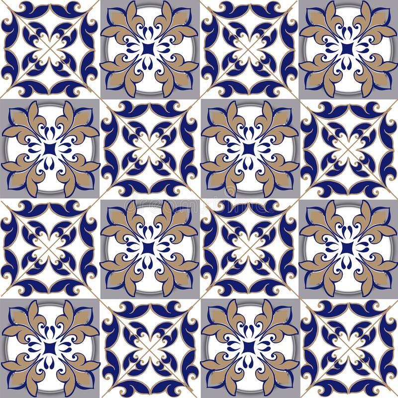 Modèle sans couture de patchwork des tuiles marocaines et portugaises dans des couleurs bleues et brunes L'ornement décoratif peu illustration stock