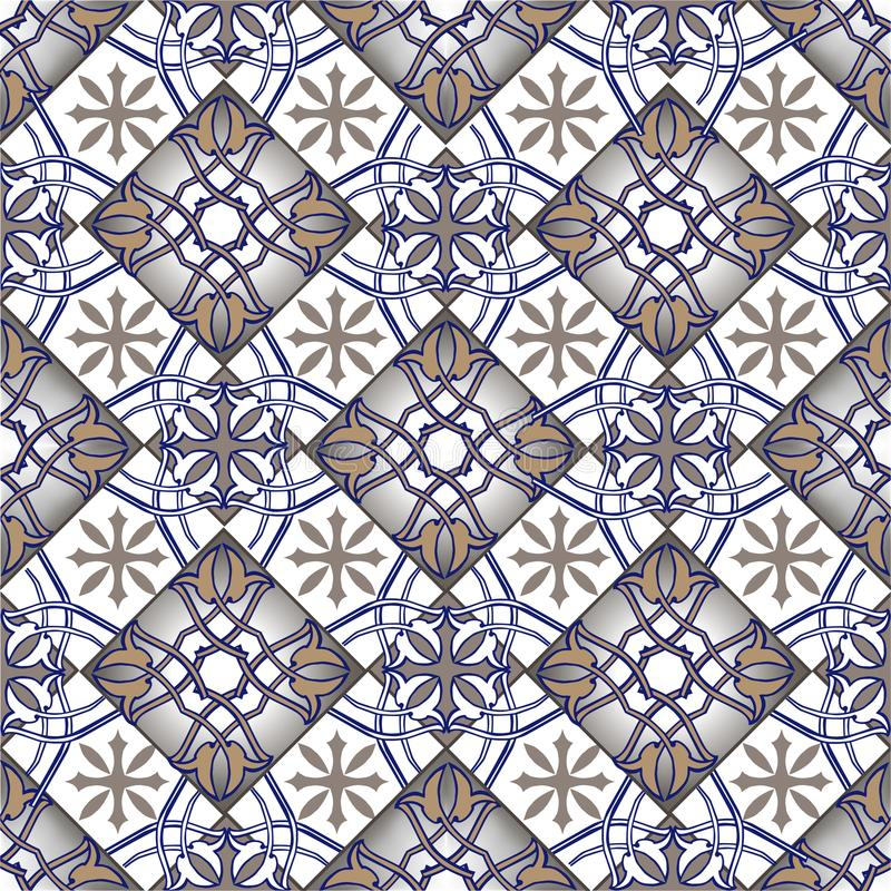 Modèle sans couture de patchwork des tuiles marocaines et portugaises dans des couleurs bleues et brunes L'ornement décoratif peu illustration libre de droits