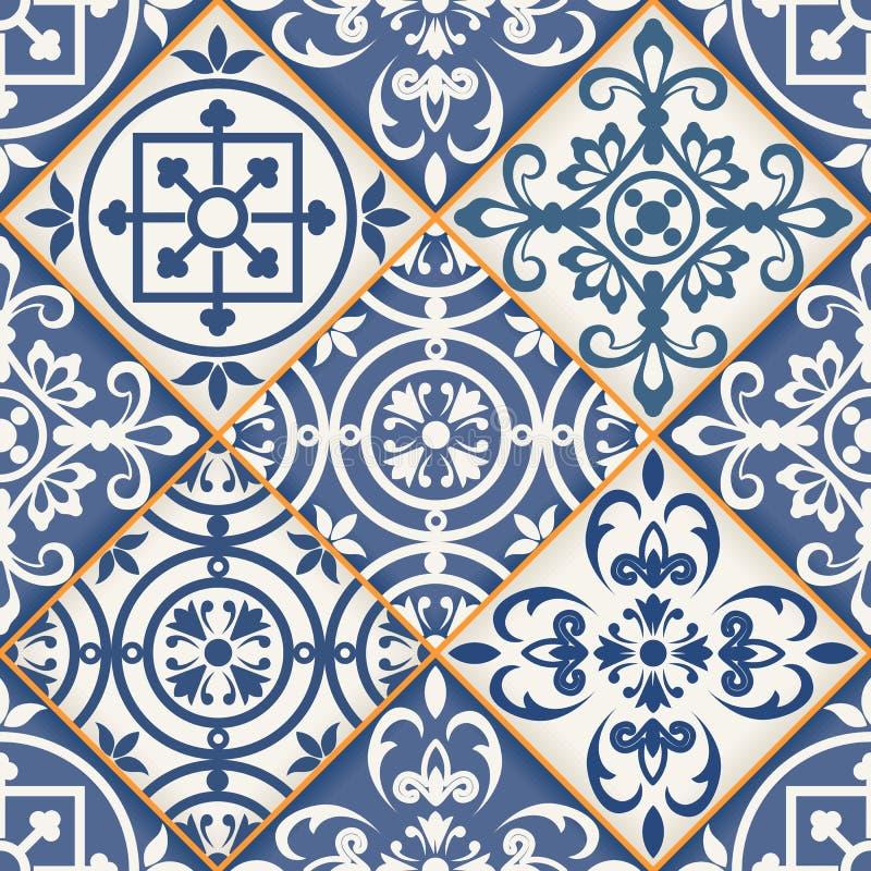 Modèle sans couture de patchwork, tuiles marocaines illustration libre de droits