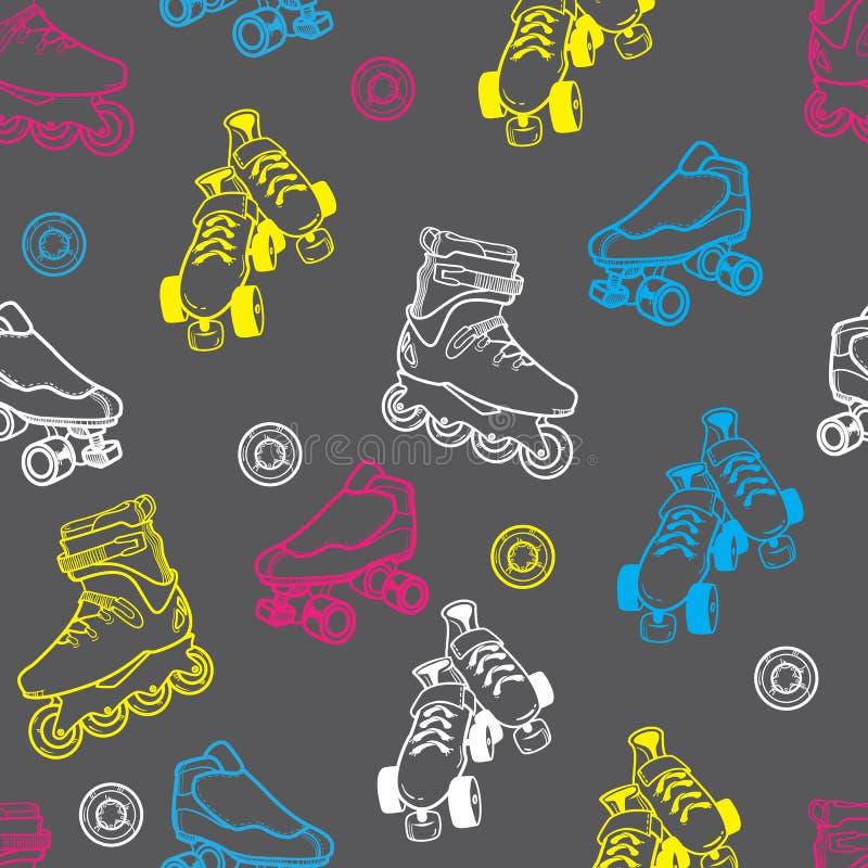 Modèle sans couture de patin de rouleau illustration stock