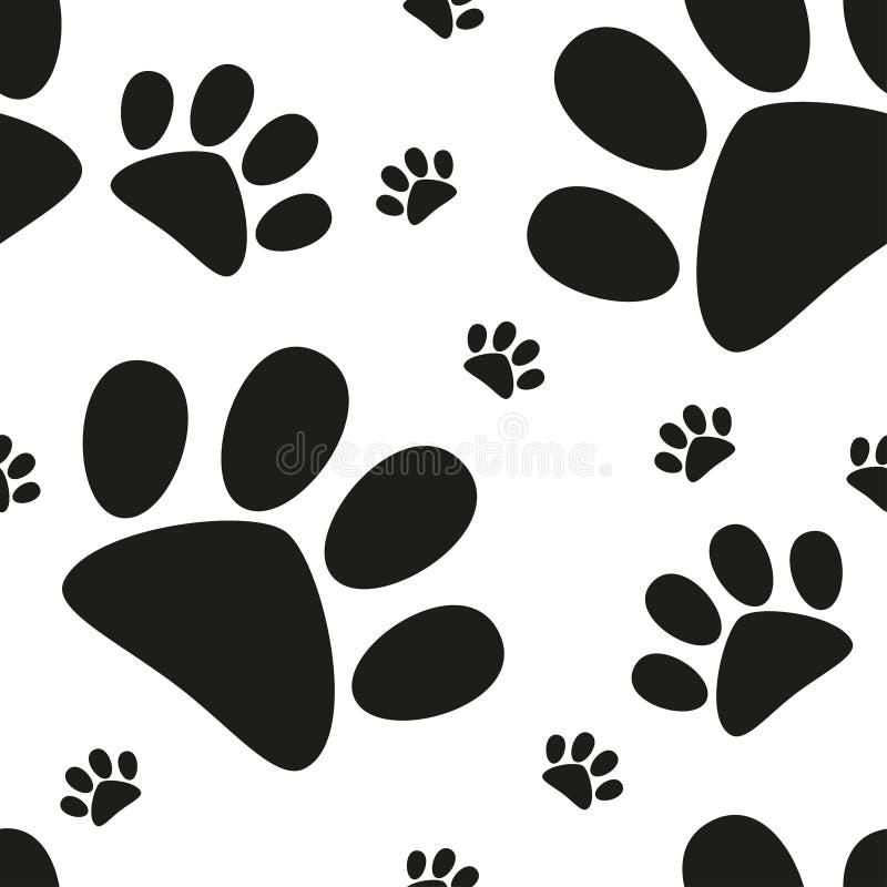 Modèle sans couture de patte de chat de bande dessinée, empreinte de pas animale, vecteur illustration libre de droits