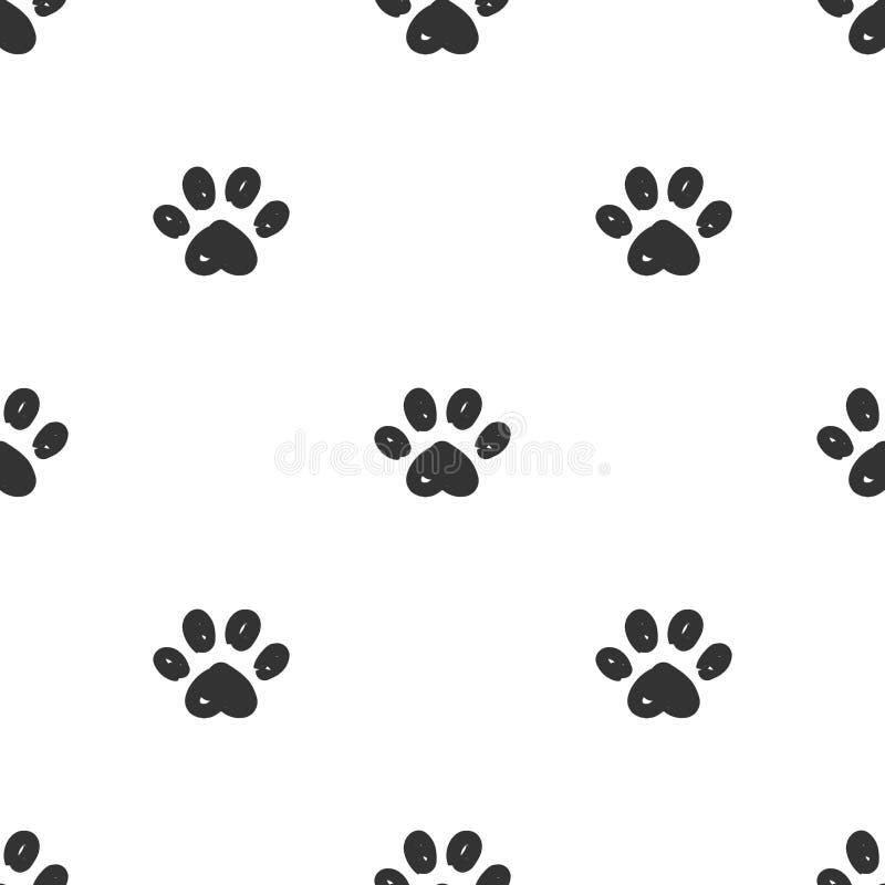 Modèle sans couture de pattes de chat illustration de vecteur