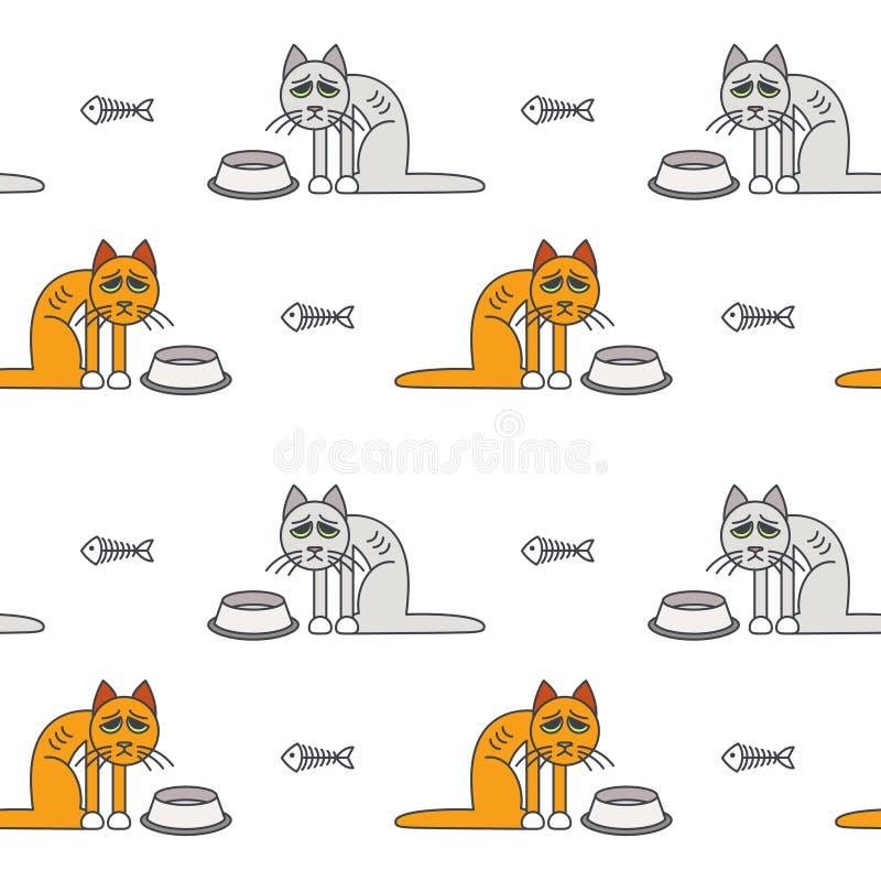 Modèle sans couture de pauvres chats affamés malheureux illustration stock