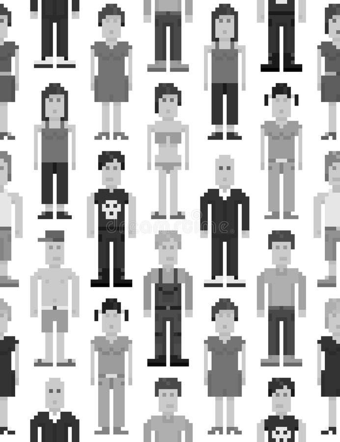 Modèle sans couture de personnes de pixel illustration libre de droits