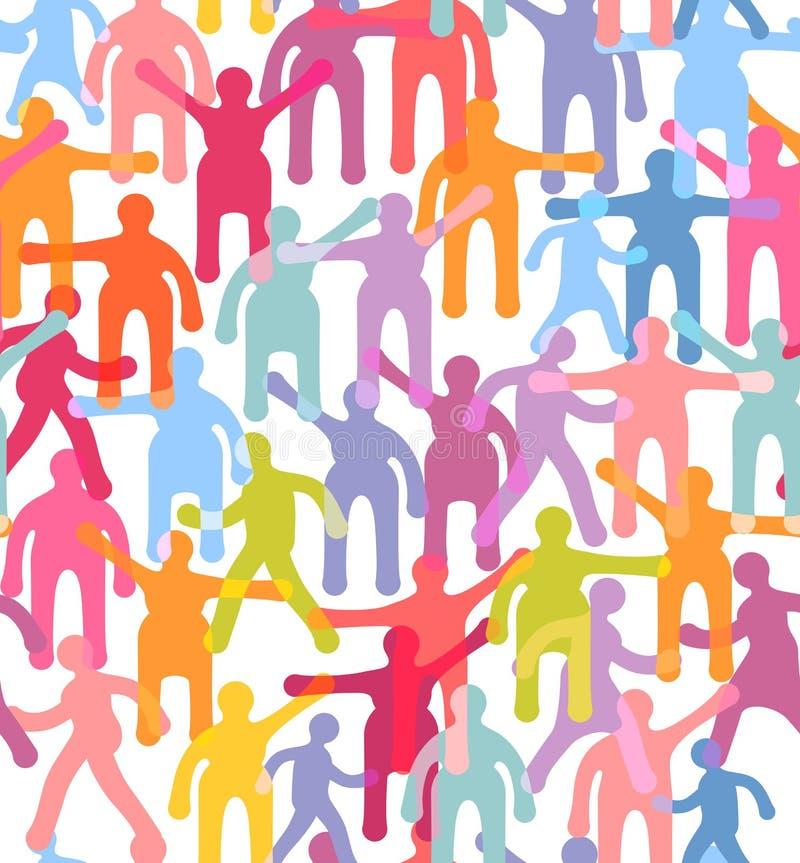 Modèle sans couture de personnes. Illustration colorée de foule illustration libre de droits