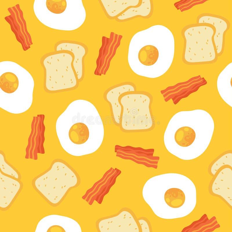 Modèle sans couture de petit déjeuner avec les oeufs et le lard illustration stock