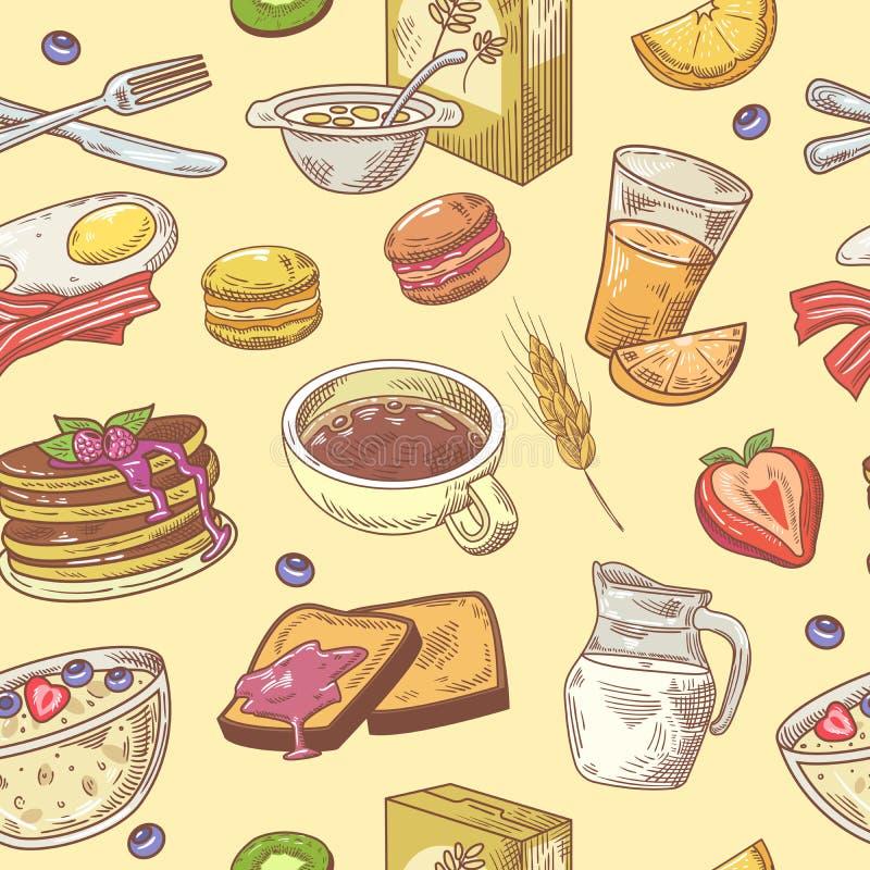 Modèle sans couture de petit déjeuner tiré par la main avec du café, des fruits et des pains grillés Fond sain de nourriture illustration stock