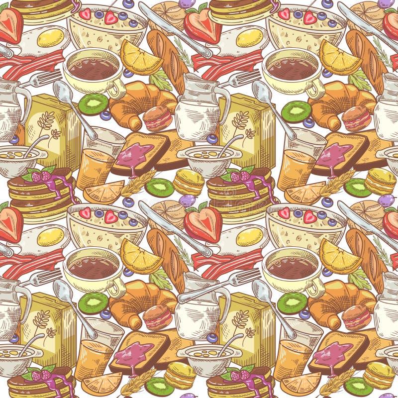 Modèle sans couture de petit déjeuner tiré par la main avec la boulangerie, les fruits et le lait Fond sain de nourriture illustration libre de droits