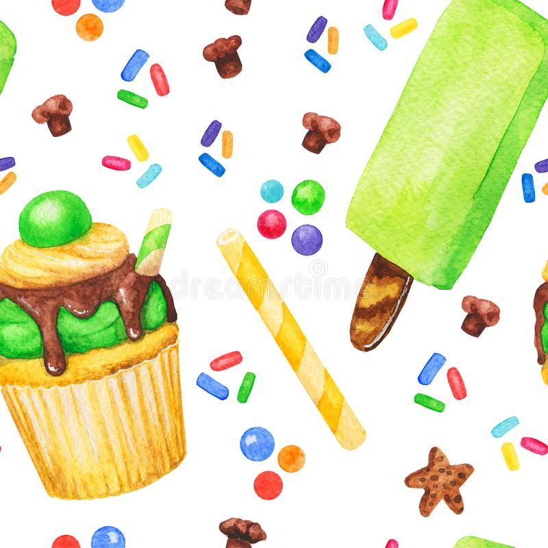 Modèle sans couture de petit gâteau, de bonbons et de crème glacée d'aquarelle, gâteau féerique d'isolement sur un fond blanc B t illustration de vecteur