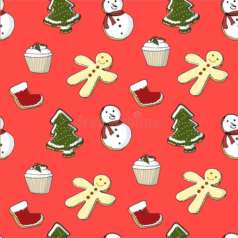 Modèle sans couture de petit gâteau, chaussette, bonbons, arbre de Noël, biscuits, bonhommes de neige, pain d'épice sur le rouge illustration libre de droits