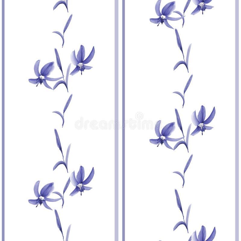 Modèle sans couture de petites fleurs bleues et de rayures verticales bleues sur le fond blanc watercolor illustration stock
