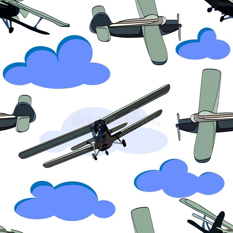 Modèle sans couture de petites images d'avions de sports sur le fond blanc avec les nuages bleus illustration de vecteur