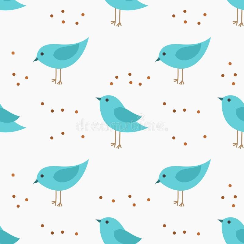 Modèle sans couture de petits oiseaux bleus mignons illustration libre de droits