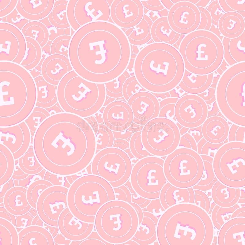 Modèle sans couture de pièces de monnaie en cuivre de livre britannique Excep illustration de vecteur