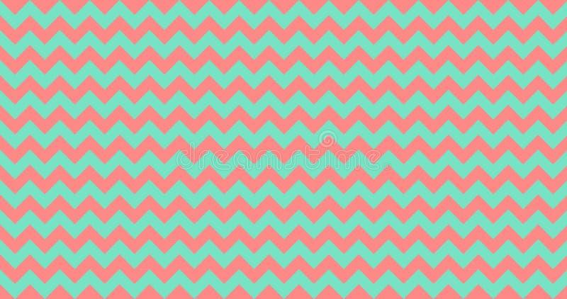 Modèle sans couture de pieds de chevron de zigzag de vecteur, vert de corail vivant de turquoise illustration stock