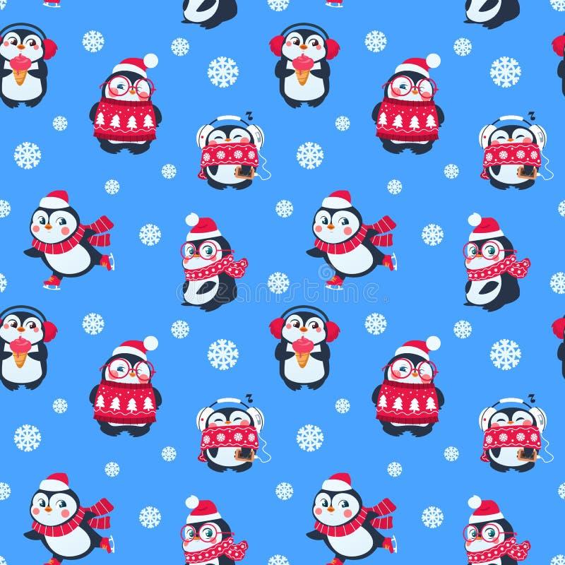 Modèle sans couture de pingouins Paquet mignon de Noël avec le pingouin drôle de bébé Fond de textile de vecteur de vacances d'hi illustration de vecteur