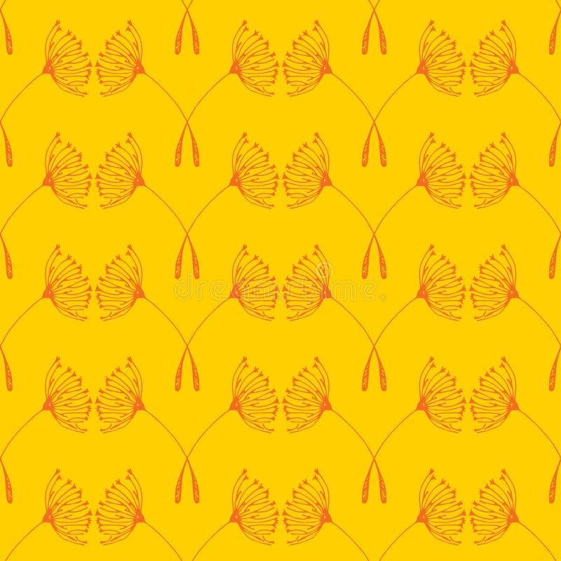 Modèle sans couture de pissenlits sur le fond jaune illustration stock