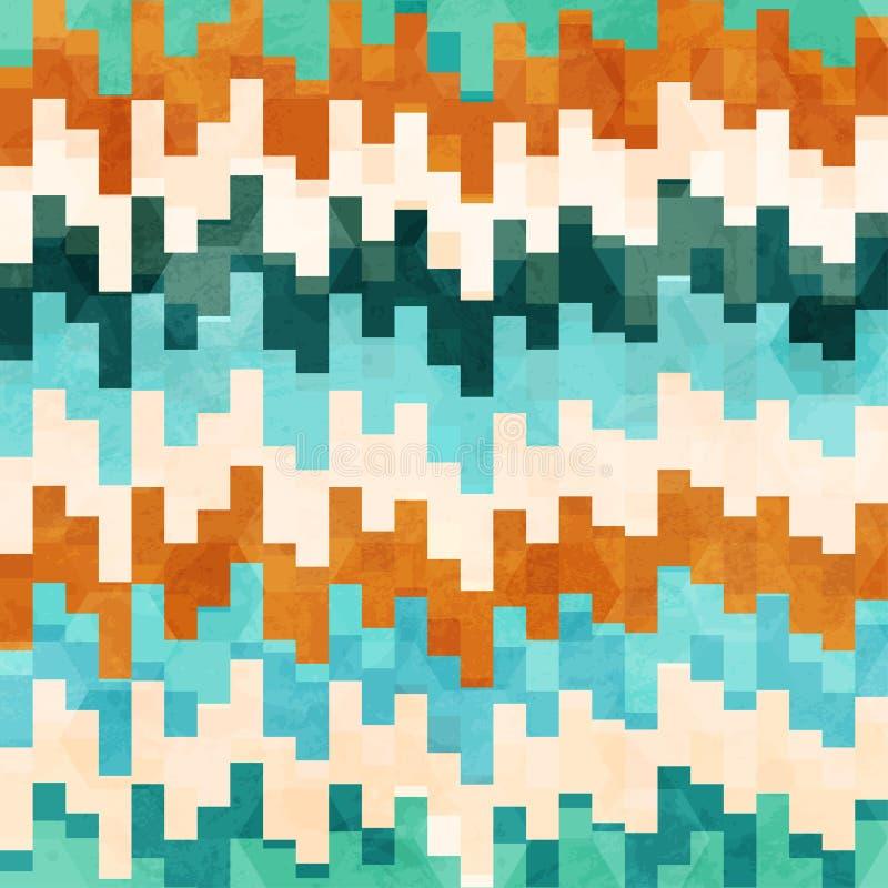 Modèle sans couture de pixel de vintage avec l'effet grunge illustration libre de droits