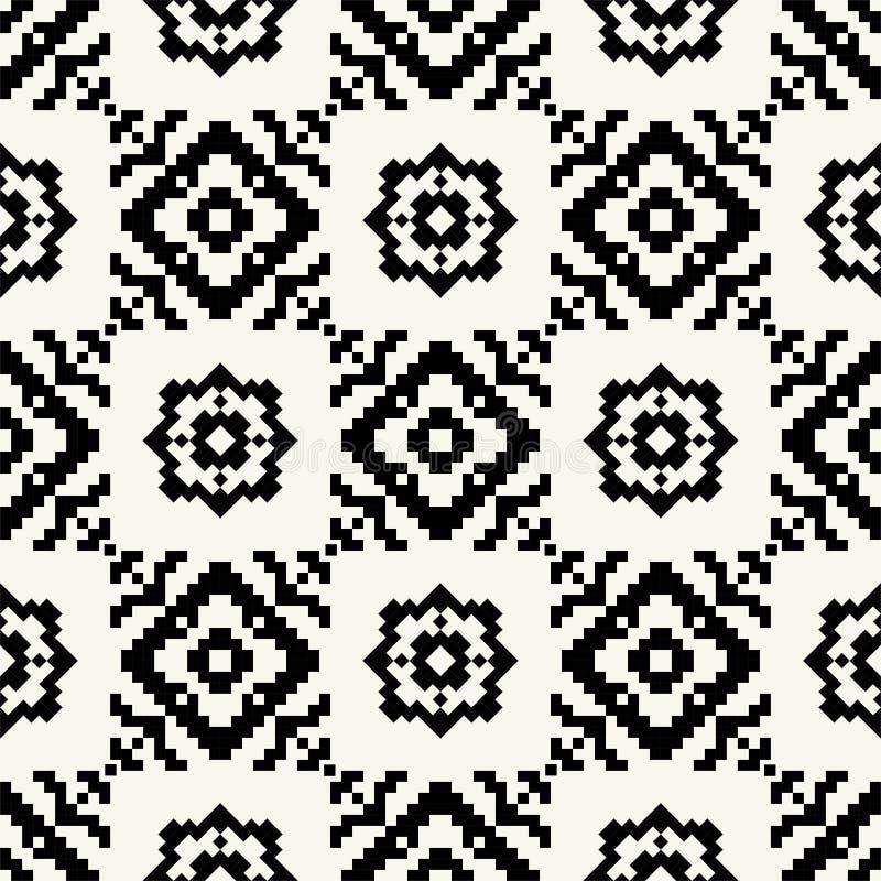 Modèle sans couture de pixel noir et blanc à la mode de hippie illustration stock