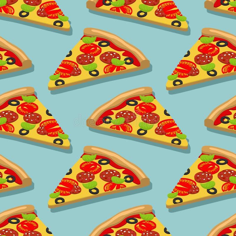 Modèle sans couture de pizza isométrique Texture italienne de nourriture Deliciou illustration de vecteur