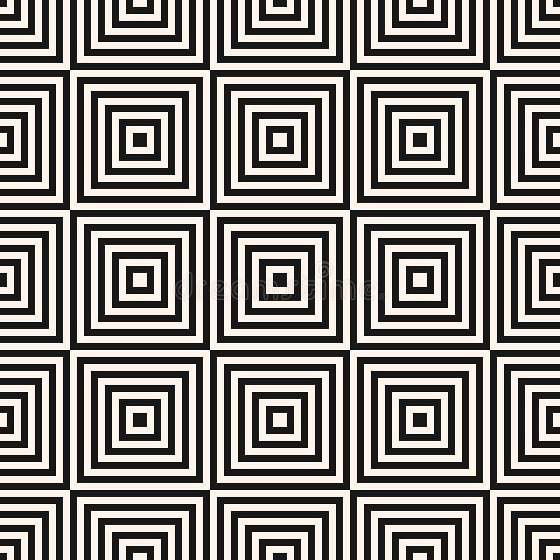 Modèle sans couture de places géométriques de vecteur Ornement noir et blanc abstrait illustration de vecteur