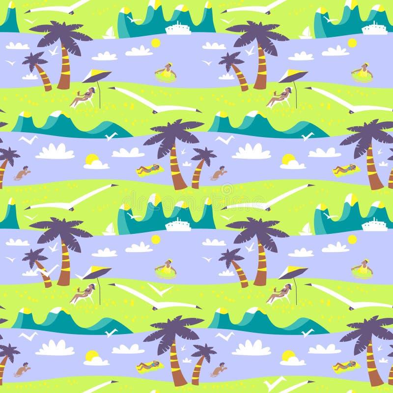 Modèle sans couture de plage d'été Paysage idyllique de mer avec le mounta illustration de vecteur