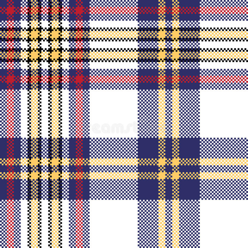 Modèle sans couture de plaid de contrôle bleu blanc de pixel illustration libre de droits