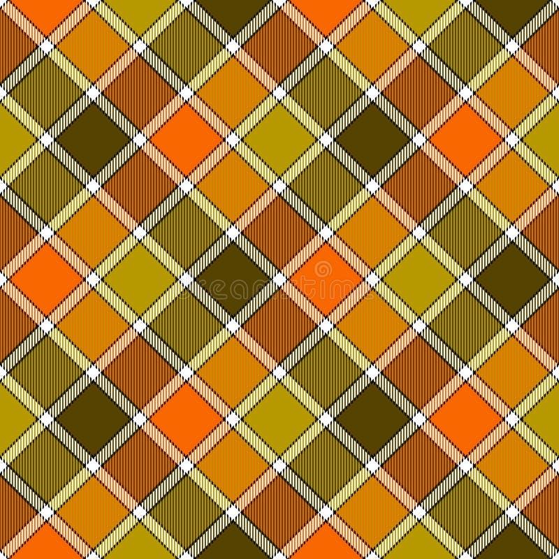 Modèle sans couture de plaid diagonal orange vert de contrôle illustration libre de droits