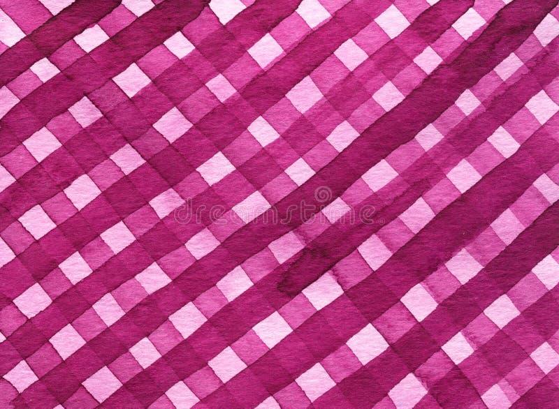 Modèle sans couture de plaid géométrique abstrait d'aquarelle Fond à la mode rose d'aquarelle illustration libre de droits