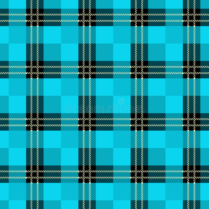 Modèle sans couture de plaid de tartan Copie à carreaux de texture de tissu dans le bleu grisâtre foncé, marine, bleu-clair et bl illustration de vecteur