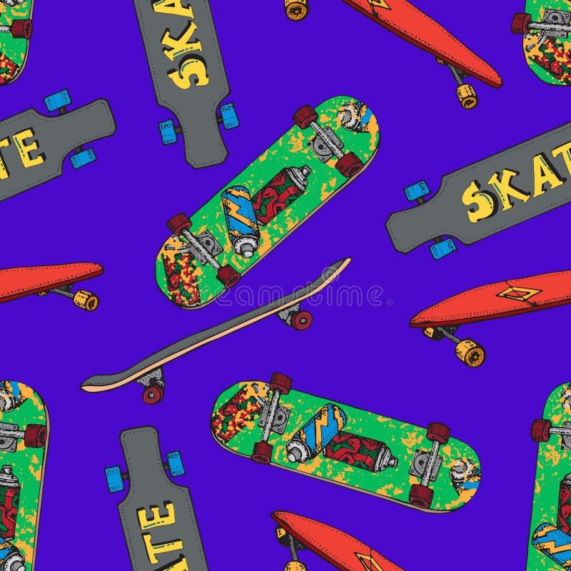 Modèle sans couture de planche à roulettes Griffonnage Longboard, pennyboard Inscription de la planche à roulettes Illustration t illustration libre de droits