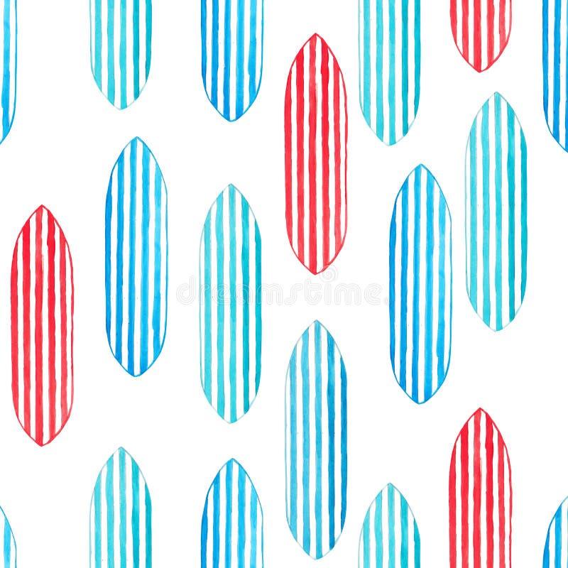 Modèle sans couture de planche de surf d'aquarelle sur Backgrou blanc illustration stock