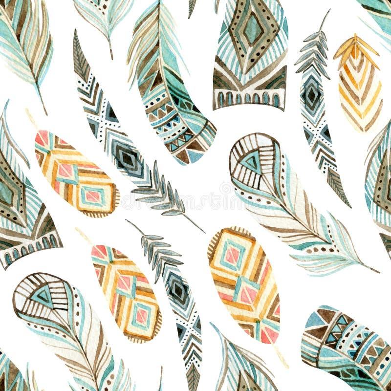 Modèle sans couture de plumes ethniques d'aquarelle illustration stock