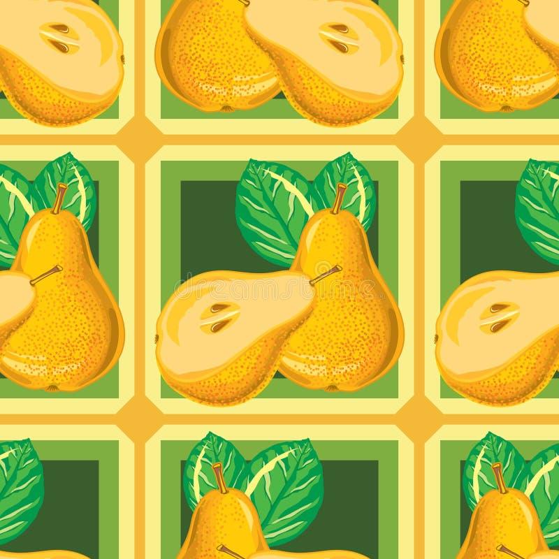 Modèle sans couture de poire jaune mûre illustration de vecteur