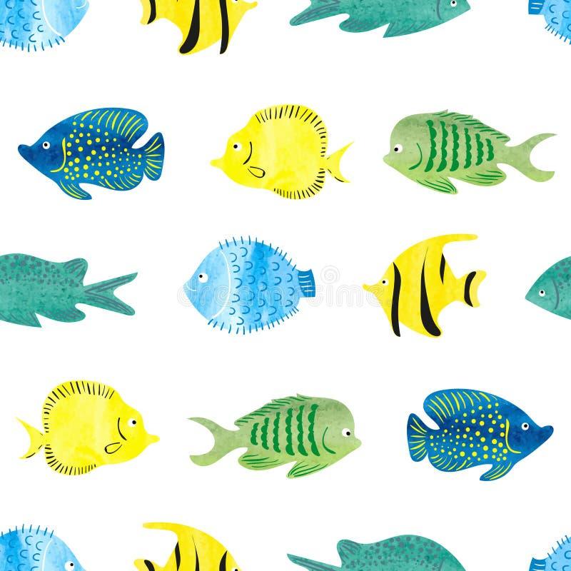 Modèle sans couture de poissons d'aquarelle Poissons abstraits tropicaux illustration libre de droits