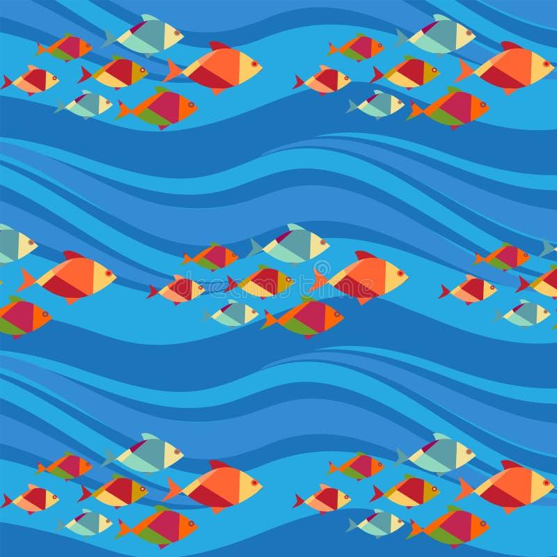Modèle sans couture de poissons et de vagues () illustration libre de droits