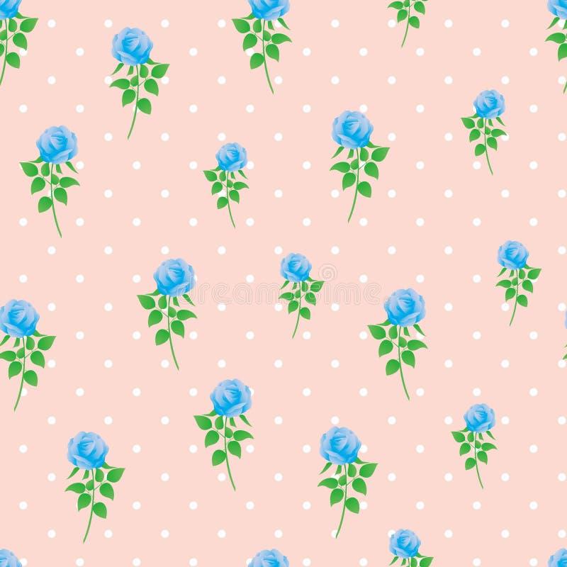 Modèle sans couture de polka de rose de bleu de fond de papier numérique de point photographie stock libre de droits