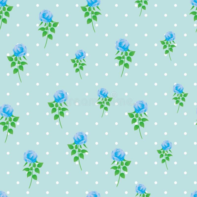 Modèle sans couture de polka de rose de bleu de fond de papier numérique de point photos libres de droits