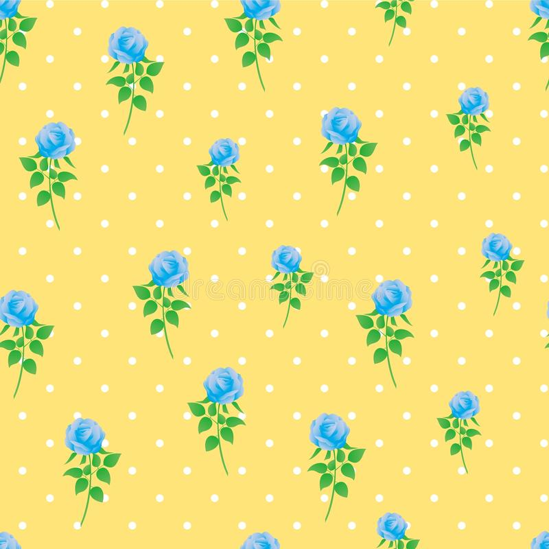 Modèle sans couture de polka de rose de bleu de fond de papier numérique de point image stock