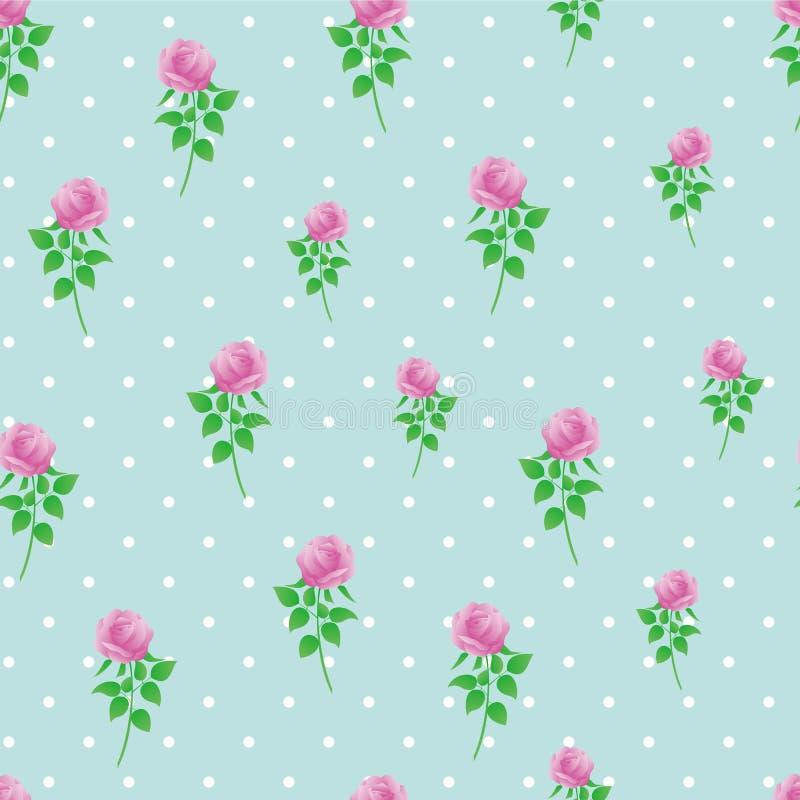Modèle sans couture de polka de rose de rose de fond de papier numérique de point photo stock